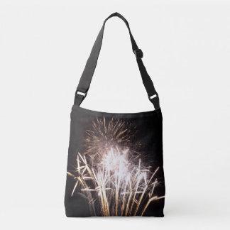 White and Gold Fireworks I Patriotic Celebration Crossbody Bag