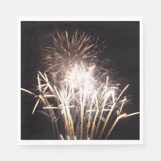 White and Gold Fireworks I Patriotic Celebration Disposable Serviette