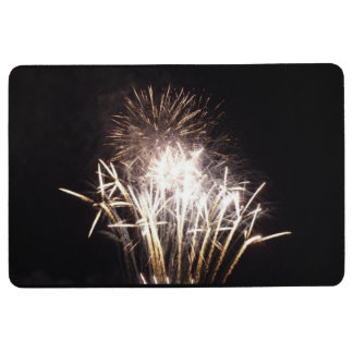 White and Gold Fireworks I Patriotic Celebration Floor Mat