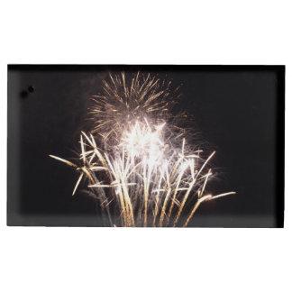 White and Gold Fireworks I Patriotic Celebration Table Card Holder