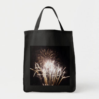 White and Gold Fireworks I Patriotic Celebration Tote Bag