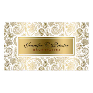 White And Gold Floral Lace Paisley 2 Pack Of Standard Business Cards