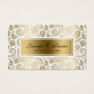 White And Gold Floral Lace Paisley 2 Business Card