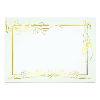White and gold floral ornament 13 cm x 18 cm invitation card