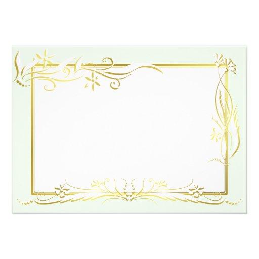 White and gold floral ornament invite
