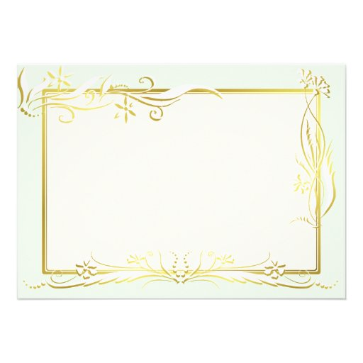White and gold floral ornament invites