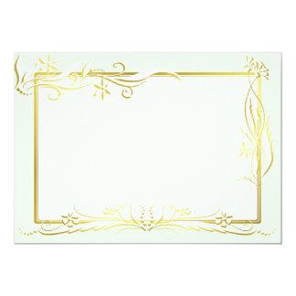 White and gold floral ornament 13 cm x 18 cm invitation card