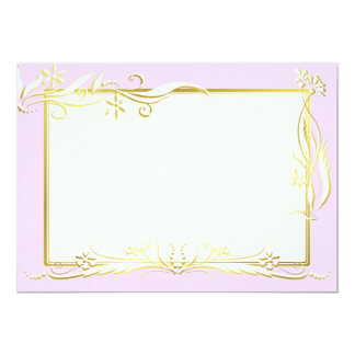 White and gold floral ornament 5x7 paper invitation card