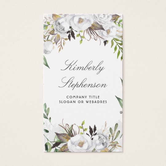 White and Gold Floral Watercolor Elegant Business Card