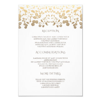 White and Gold Floral Wedding Details- Information Card