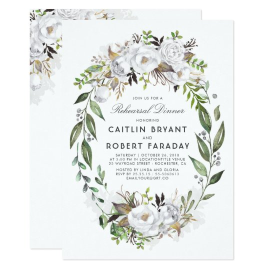White and Gold Floral Wreath Rehearsal Dinner Card