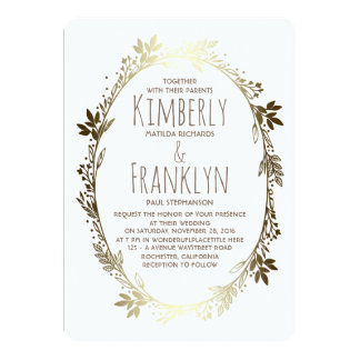 White and Gold Floral Wreath Wedding Card