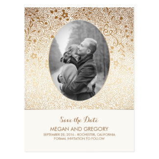 White and Gold Flowers Chic Photo Save the Date Postcard