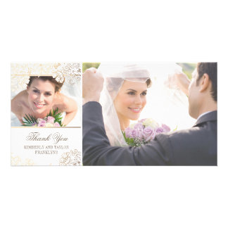 White and Gold Flowers Wedding Photo Cards