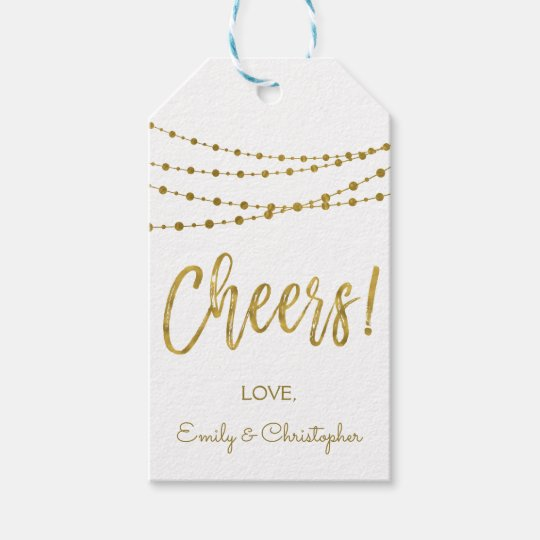 White and Gold Foil Cheers Gift Tag