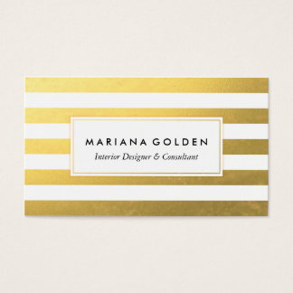 White and Gold Foil Stripe Business Card