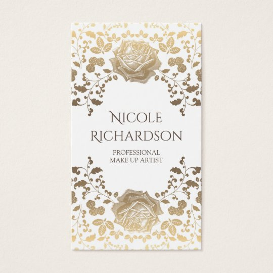 White and Gold Foliage Elegant Beauty Vintage Business Card