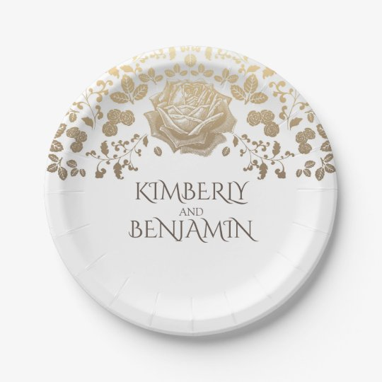 White and Gold Foliage Elegant Vintage Wedding 7 Inch Paper Plate