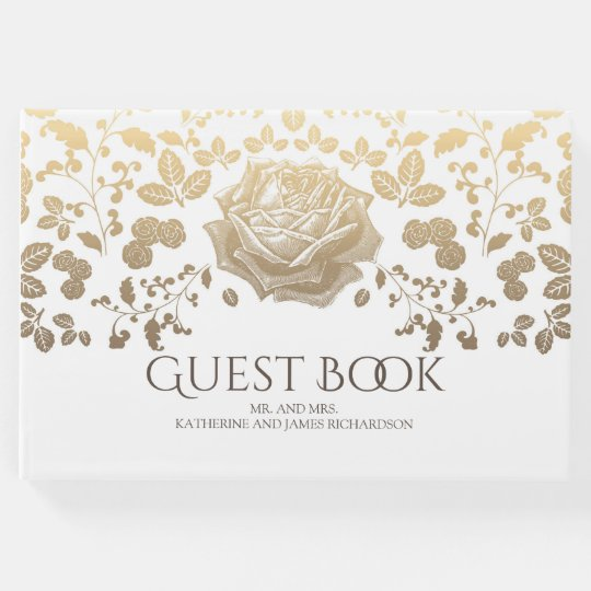 White and Gold Foliage Elegant Vintage Wedding Guest Book