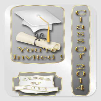 White and Gold Graduation Party Envelope Seal Square Sticker