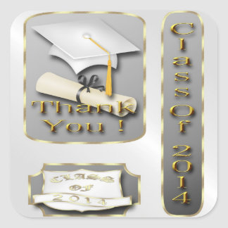 White and Gold Graduation Thank You envelope seal Square Sticker