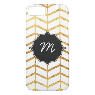 White and Gold Herringbone Quatrefoil iPhone 7 Case