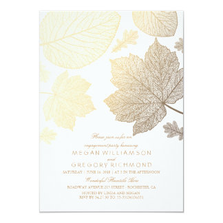 White and Gold Leaves Fall Engagement Party 13 Cm X 18 Cm Invitation Card