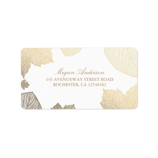 white and Gold Leaves Fall Wedding Address Label