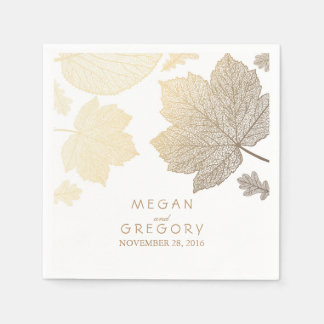White and Gold Leaves Fall Wedding Paper Serviettes