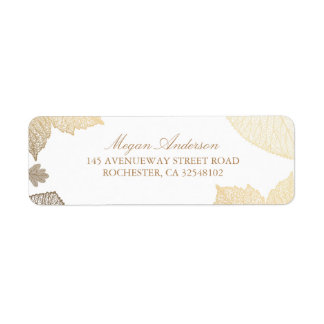 White and Gold Leaves Fall Wedding Return Address Label