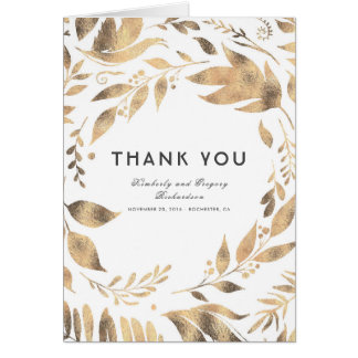 White and Gold Leaves Laurel Wedding Thank You Card