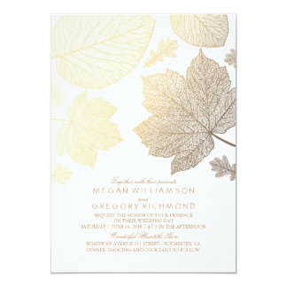 White and Gold Leaves Vintage Fall Wedding 13 Cm X 18 Cm Invitation Card