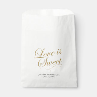 White and Gold Love Is Sweet Treat Favor Bag