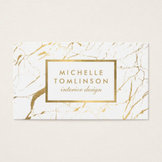 White and Gold Marble Designer Business Card