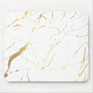 White and Gold Marble Designer Mouse Mat