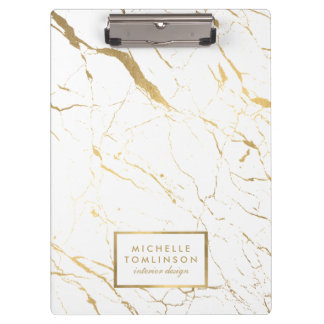 White and Gold Marble Designer Personalized Clipboard