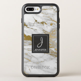 White and Gold Marble Elegant Monogram OtterBox Symmetry iPhone 8 Plus/7 Plus Case