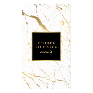 White and Gold Marble Event Planner Pack Of Standard Business Cards