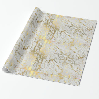 white and gold marble gift wrap