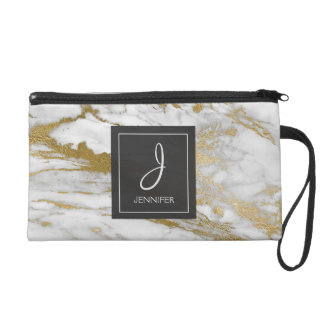 White and Gold Marble Stone Monogrammed Wristlet