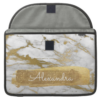 White and Gold Marble with Gold Foil and Glitter Sleeve For MacBook Pro