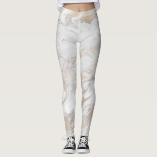 White and Gold Marbled Leggings