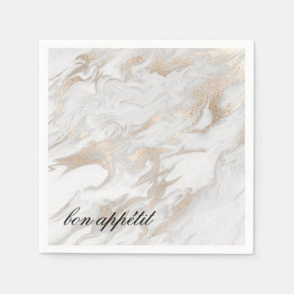 White and Gold Marbled Paper Napkins