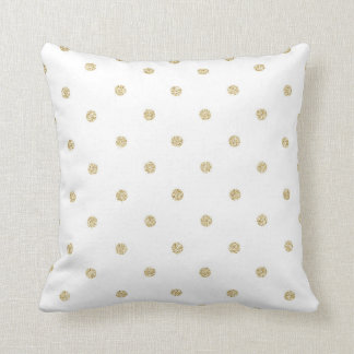 White and Gold Polka Dot Pattern Cushion
