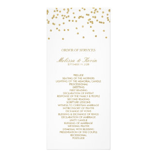 White and Gold Polka-Dots Order of Services 10 Cm X 23 Cm Rack Card