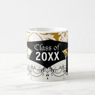 white and gold royale lovely damask graduation mug