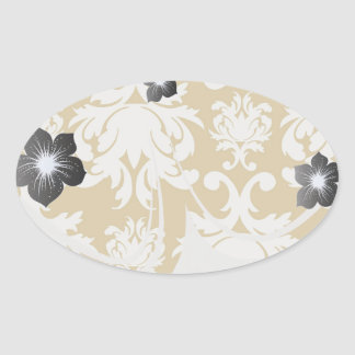 white and gold royale lovely damask sticker