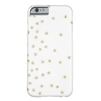 White and Gold Stars Pattern Barely There iPhone 6 Case