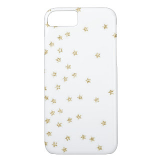 White and Gold Stars Pattern iPhone 7 Case