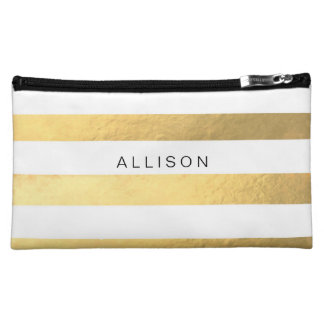 White and Gold Stripe Personalized Cosmetic Bag